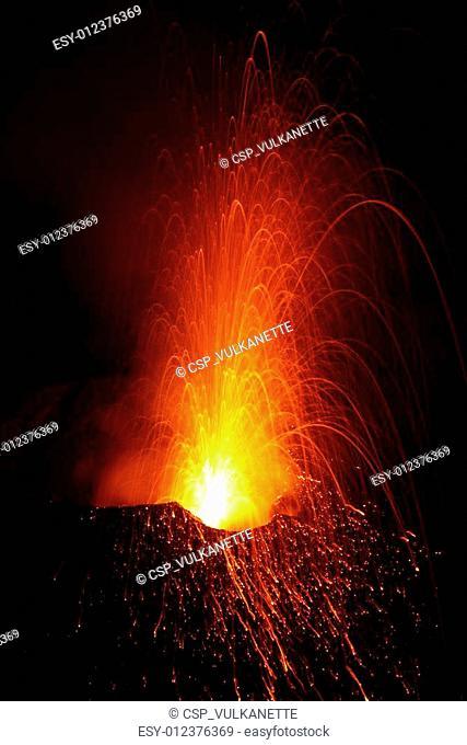 volcano eruptingwith Strombolian eruption