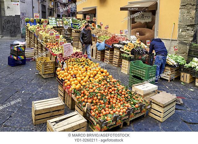 Naples Campania Italy. Greengrocer at Pignasecca quarter