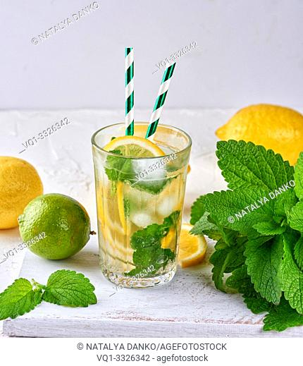 refreshing drink lemonade with lemons, mint leaves, lime in a glass , next to the ingredients for making a cocktail