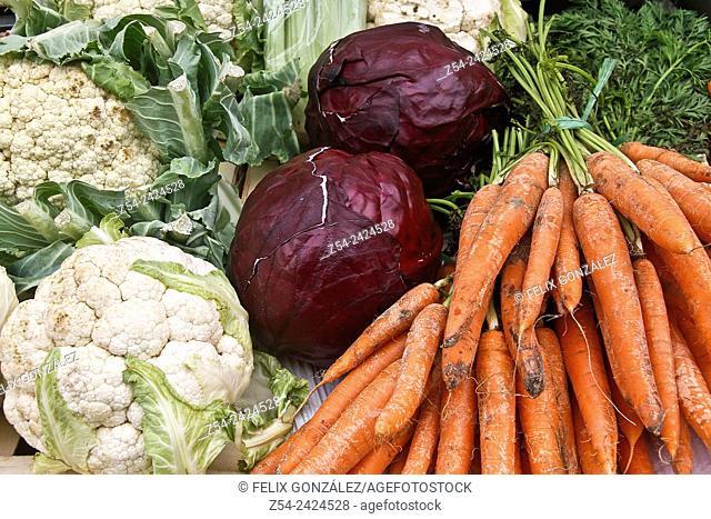 Vegetables at Grado street Market, Asturias, Spain