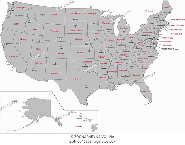 Gray USA map
