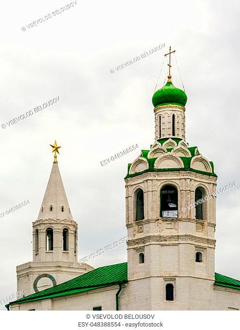 Church of St. John the Baptist Monastery and Savior Tower on Background. Kazan, Russia