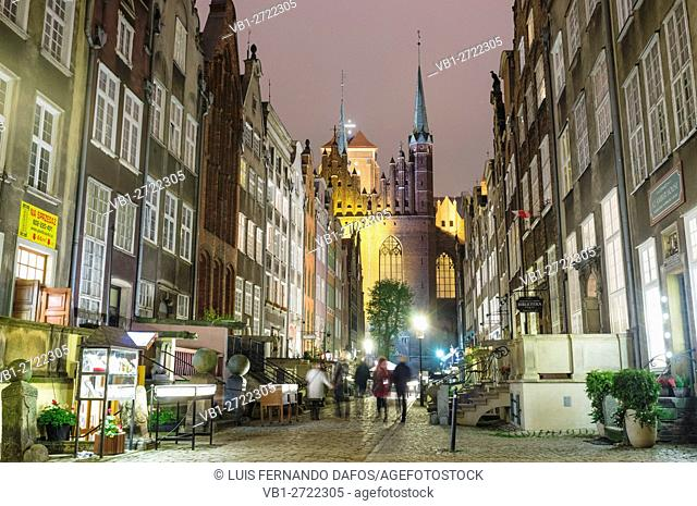 Mariacka Street (St. Mary's basilica in background) by night. Mariacka is the main shopping street for amber and jewelry in the old hanseatic city of Gdansk