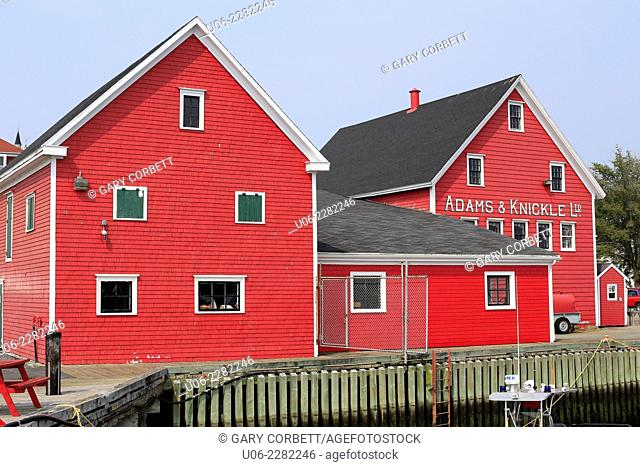 Red waterfront buildings at Lunenburg, Nova Scotia, Canada