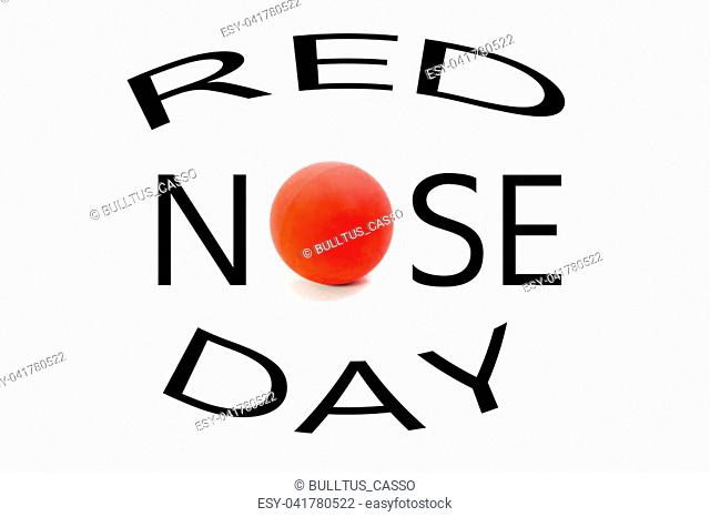 Red Nose Day isolated on white Background. For card or background