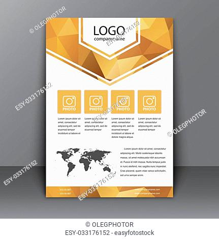 brochure template (flyers, covers, poster) for printing a report or advertising. Polygon golden background and world map with a description