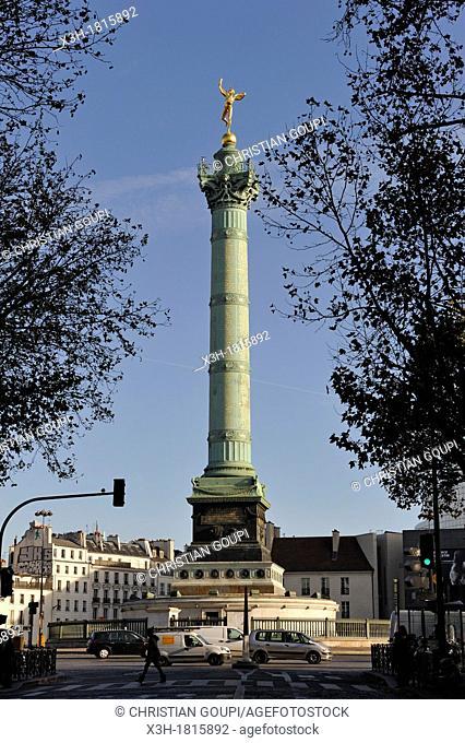 July Column on Place de la Bastille, Paris, Ile-de-France region, France, Europe