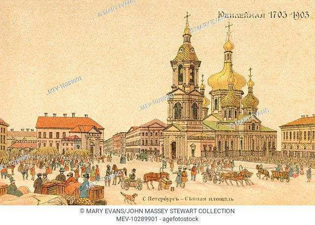 View of the Haymarket (Hay Square, or Sennaya Ploschad), St Petersburg, Russia, on a busy market day. The market was established in 1737 when the city was still...