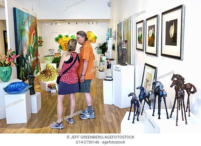Florida, St. Saint Augustine, Old Town, Aviles Street, Plum Contemporary Gallery, art, man, woman, couple, shopping