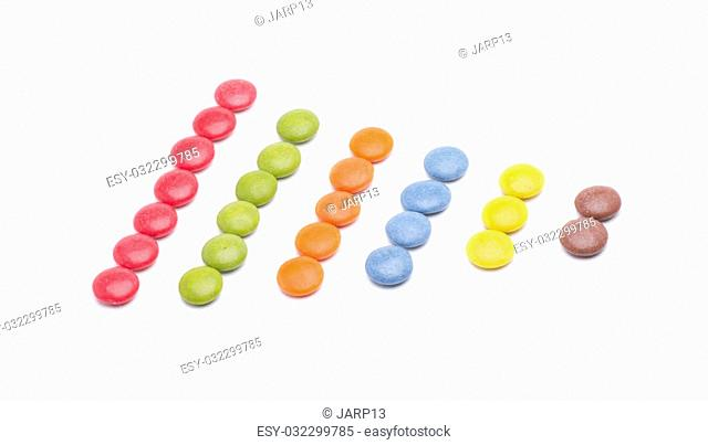 circles of different colors, chocolate fillings