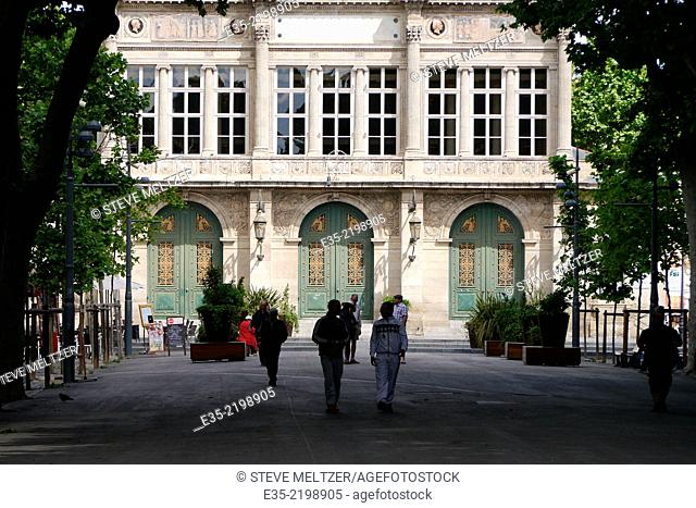 The Allee Paul Riquet Beziers, France ends at the Municipal theater