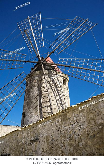 windmill at the Museum of salt, near Nubia, south of Trapani, on the west coast of Sicily, Italy