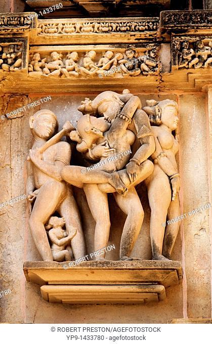 India - Madhya Pradesh - Khajuraho - erotic sculpture on the Lakshmana temple