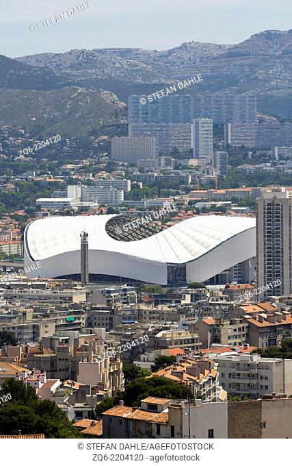 Aerial View over a Stadium in Marseille, France