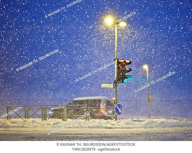 Snowstorm, Reykjavik Iceland