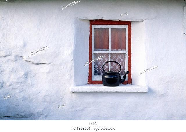 Kettle on window ledge of cottage, Kilronan, Inishmore, Aran Islands, County Galway, Ireland