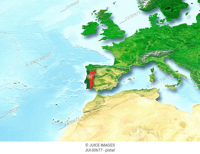 Portugal, flag, map, Western Europe, physical