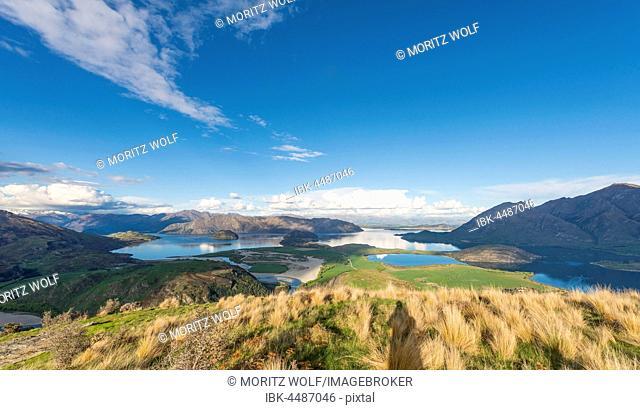 View on Lake Wanaka and mountains, Rocky Peak, Glendhu Bay, Otago, Southland, New Zealand