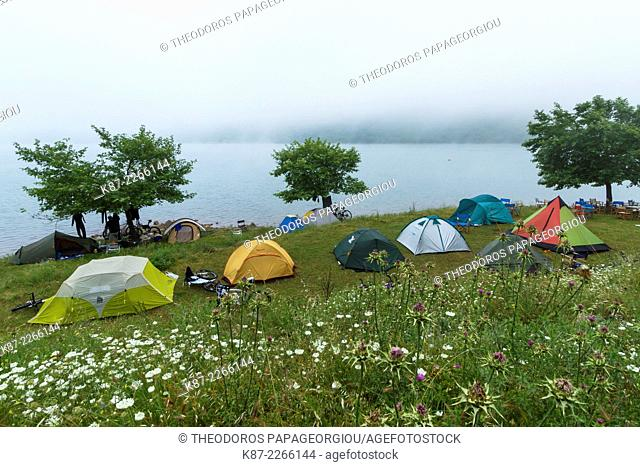 Tents at the banks of Ladon lake. Arcadia, Peloponnese, Greece