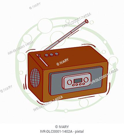 Illustration of vintage radio with antenna