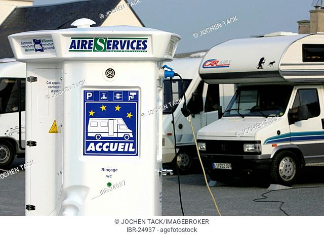 FRA, France, Normandy: parking lot for mobile homes, with electrical power supply