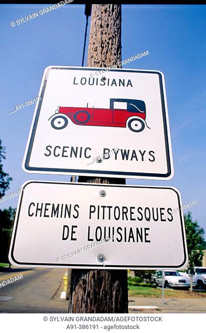 Signs written in french . Lafayette cajun county. Louisiana. USA