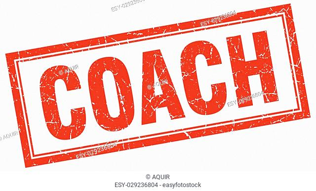 coach red square grunge stamp on white