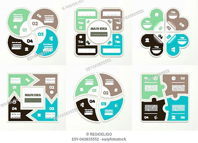 Collection of Infographic Templates for Business. Four steps cycling diagrams. Vector Illustration