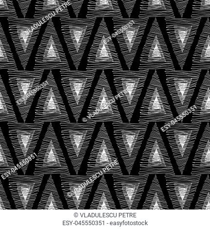 triangles from white lines on a black background