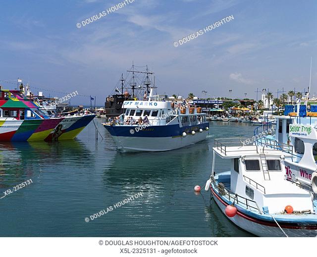 Liminaki harbour AYIA NAPA CYPRUS Tourist party pleasure cruise