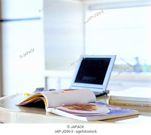 Laptop in kitchen