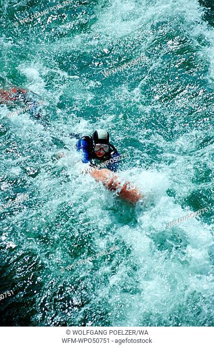 scubing in white water, Traun river, Austria