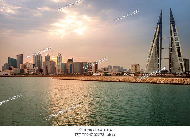 Skyline with Bahrain World Trade Center in Manama, Bahrain