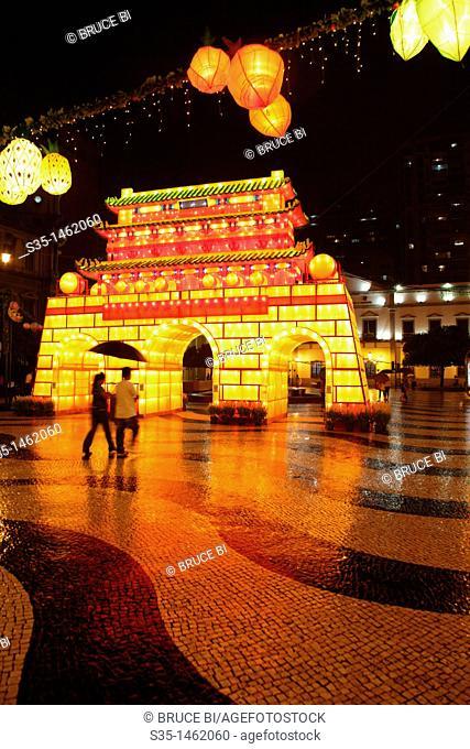 The night view of Largo de Senado Senado Square with National Day decorations  Macau  China