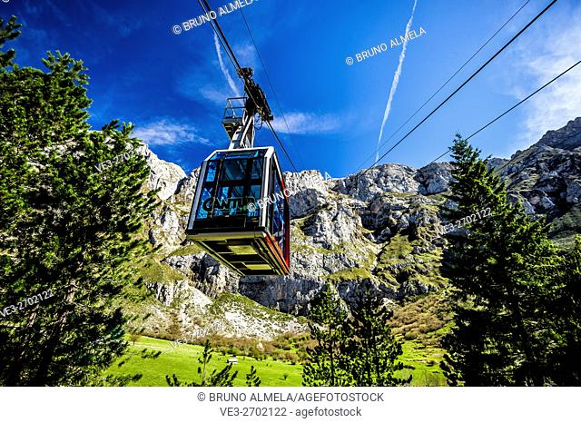 Cableway of Fuente Dé in the Picos de Europa national Park (region of Cantabria, Spain)