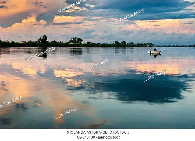 Fishing. Ebro River delta. Tarragona province, Catalonia, Spain
