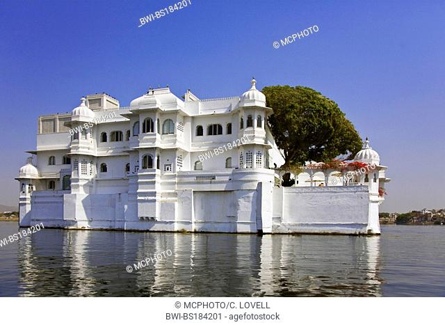 The LAKE PALACE HOTEL on JAGNIWAS ISLAND was built by Maharaja Jagat Singh ll in 1754 and rises from LAKE PICHOLA in UDAIPUR, India, Rajasthan