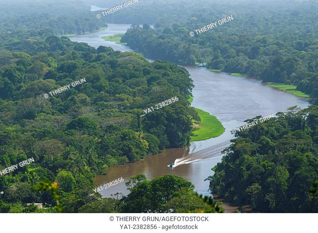 Costa Rica. National park of Tortuguero, water canal and rainforest viewed from Cerro Tortuguero hill