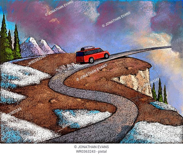 Red car driving on a windy road through the sky