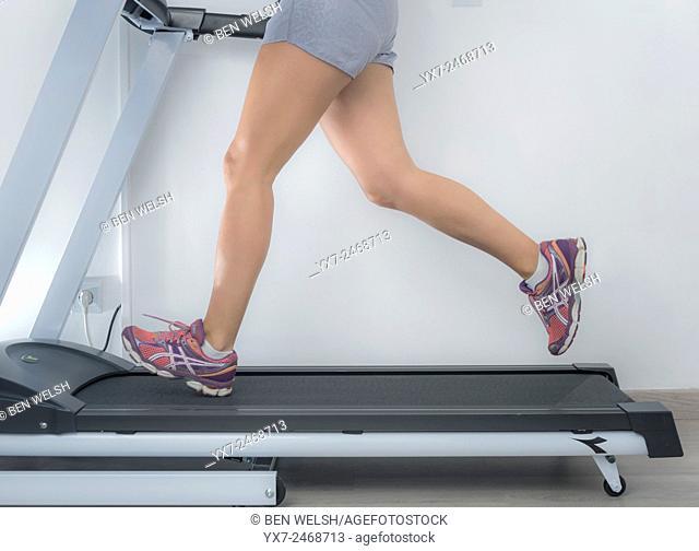 Woman on a running machine