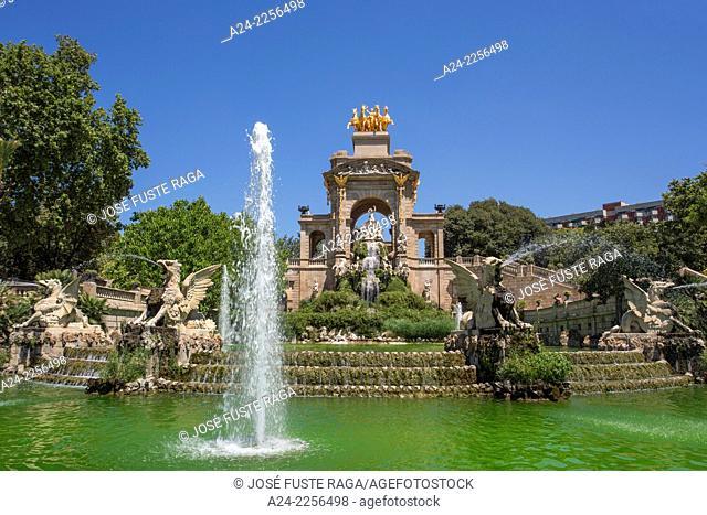 Spain , Catalunya,Barcelona City , La Ciutadella Park, La Cascada (the waterfall)