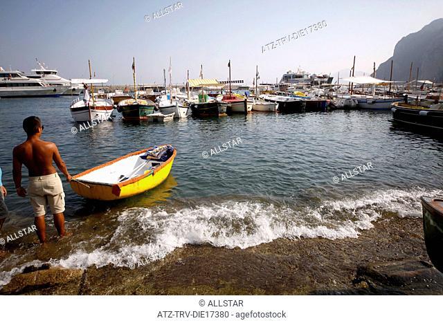 TANNED LOCAL & FISHING BOATS; MARINA GRANDE, ISLAND OF CAPRI, ITALY; 17/09/2011