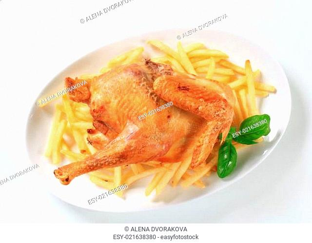 Roasted chicken with French fries