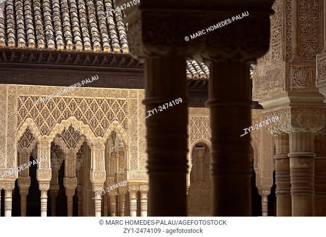 Court of the Lions (Patio de los Leones) in the Alhambra, Granada. Andalucia, Spain