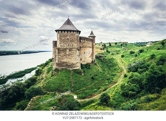 Fortress in Khotyn city over Dnister River, located in Chernivtsi Oblast of western Ukraine, view from North-Western bastion