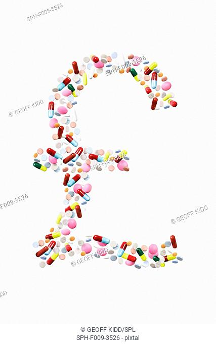 Pound sterling symbol made from pills