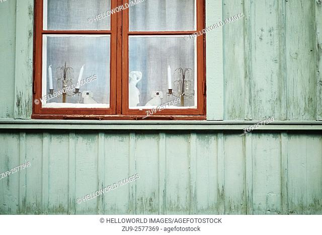 Christmas decorations and candles in window of traditional wooden house, Stockholm, Sweden, Scandinavia