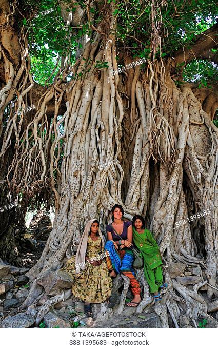 Girls sitting by the big tree