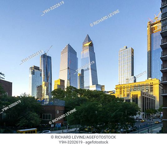 10 Hudson Yards, center left, 30 Hudson Yards, center right, and other development around Hudson Yards in New York on Saturday, October 13, 2018