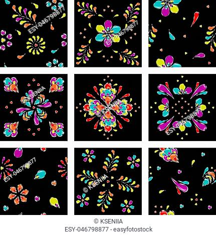 set of nine seamless colored ethnic geometric and floral ornaments on a black background